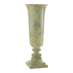 John Richard - John Richard Tall Fluted Bell Iron Urn JRA-9264 - The tall bell shaped fluted urn is finished in a fresh light green patina. A pair of these splendid urns will make a statement on a console or on pedestals.