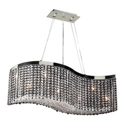 PLC Lighting - Clavius Modern Chandelier - Diffusing the light in the striking Eight-Light Clavius Contemporary Chandelier is a matrix of Asfour hand-cut crystal glass. The wave-like polished chrome finished canopy forms a curtain of crystals and displays the artisan's masterful craftsmanship. Infuse your interior with style without losing the glamorous edge. This fixture accommodates eight (8) 40 watt, G9 type halogen lamps, which are included. A quick grip cable support for easy adjustment is also included.