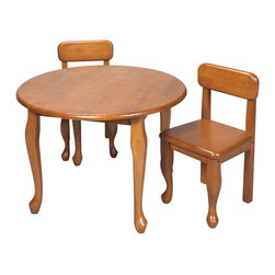 Gift Mark - Gift Mark Home Kids Queen Anne Round Table And Chair Set Honey - The Gift mark Solid Wood Queen Anne Table and 2 Chair Sets are sure to delight and become the Center Piece of Any Child's Room. The Solid Wood Queen Anne Table and Chair Sets, is of Heirloom Quality, and will add a touch of sophistication to any child's room or Play Room. Intended specifically for your Child. Children Play for Hours on end. Our Table and Chair Sets clean easily with any Quality Furniture Polish. All Tools Included for Assembly. Easy To Assemble