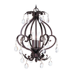 Livex - Livex Iron & Crystal Mini Chandelier 8164-40 - Finish: Hand Rubbed Bronze with Antique Silver Accents
