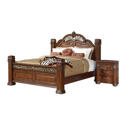 Coaster - Coaster DuBarry 6 Piece Bedoom Set in Rich Brown Finish - Coaster - Bedroom Sets - 201821XXPKG4 - Coaster DuBarry Bed in Rich Brown Finish (included quantity: 1) Center your master suite with sophistication by welcoming this bed from the DuBarry collection into your home. This grand headboard and footboard bed boasts beautiful, classic styling with its shapely headboard, reeded pillar posts, and intricately carved details. Crafted from mahogany solids and veneers, this bed is complete with a rich brown finish that will envelop any space with warm sophistication. This bed is available in Queen, King, and California King sizes.
