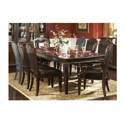 Homelegance - 7 Pc Elegant Dining Set w Upholstered Seat - Includes dining table, 2 arm chairs and 4 side chairs. Wood construction. Brown finish. Table: 72-90-108 in. L x 44 in. W x 30 in. H. Arm Chair: 27 in. W x 26 in. D x 43.75 in. H. Side Chair: 26 in. W x 20.5 in. D x 43.75 in. H