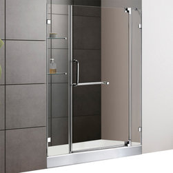 Vigo - 48in.  Frameless Shower Door 3/8in.  Clear Glass Chrome Hardware with White Base - Experience fine quality combined with superior design in a VIGO frameless shower door with matching 48in.  x 36in.  shower base.