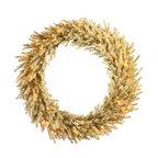 "Vickerman - Champagne Wreath 50CL (30"") - 30"" Champagne Wreath 940 PVC Tips, 50 Clear Mini Lights"