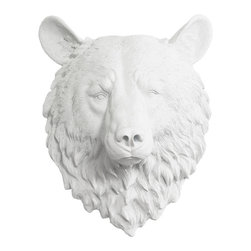 Wall Charmers - Wall Charmers Bear in White | Faux Animal Head Resin Taxidermy Bust Decor Art - WALL CHARMERS FAUX TAXIDERMY BEAR HEAD