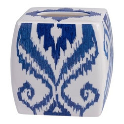 Dawson Tissue Holder by Creative Bath Products - The gorgeous blue and white Ikat pattern on the Dawson Tissue Holder by Creative Bath Products adds both casual style and a touch of color to your bathroom decor. This ceramic tissue holder is part of the Dawson bathroom collection (other pieces sold separately).About Creative BathFor over 30 years, Creative Bath has developed innovative, stylish bathroom decor items. They have grown exponentially, and now you can find their products in major retail and online stores around the world. From shower curtains to soap dishes and everything in between, Creative Bath brings you high quality items to enhance your lifestyle.
