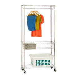 Chrome Rolling Laundry Station - Honey-Can-Do SHF-04272 Laundry and Storage Station, Chrome. Make laundry day easier with this all-in-one station from Honey-Can-Do. Includes two wire shelves, one wire basket, one hanging bar and four casters (two locking). Hanging bar provides 36 inches of hanging space. Shelves provide ample space for storing laundry detergent, dryer sheets, folded clothes and other laundry essentials. Contemporary chrome finish and sturdy steel frame make this unit the perfect blend of style and functionality. Smooth rolling casters make moving the unit a breeze.