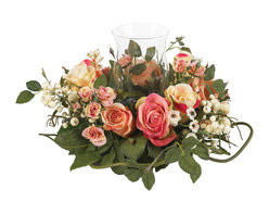 """Nearly Natural - Rose Candleabrum Silk Flower Arrangement - Light a candle to celebrate the arrival of spring! And there's no better place to do it than the center of this beautiful rose candelabrum. Measuring a full 16"""" in diameter, this picture perfect centerpiece is a wonderful mix of full rose blooms, tender buds, twisty vines, and lush green leaves. Just watch out for the sharp thorns (were joking!) Great for your dining room table, this candelabrum also makes a perfect gift anytime of the year."""