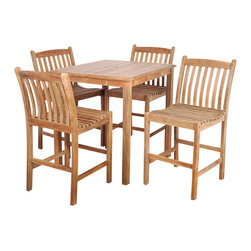 International Home Miami - Amazonia Teak Eden 5-Piece Teak Bar Set - Great Quality, elegant design patio set, made of 100% high quality Teak wood. Enjoy your patio with style with these great sets from our Amazonia Teak outdoor collection