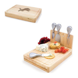 Picnic Time - Detroit Lions Asiago Folding Cutting Board With Tools in Natural Wood - The Asiago is a folding cutting board with tools that is another Picnic Time original design. This compact, fully-contained split-level cutting board is made of eco-friendly rubberwood. Lift up the top level of the board to reveal four brushed stainless steel cheese tools: a pointed-tipped cheese knife, cheese fork, cheese chisel knife, and blunt nosed hard cheese knife. The tools are magnetically secured to a wooden strip that lifts up so you can close the cutting board and display the tools. Designed with convenience in mind, the Asiago is great for home or anywhere the party takes you.; Decoration: Engraved; Includes: 4 brushed stainless steel cheese tools (1 pointed-tipped hard cheese knife, cheese fork, cheese chisel knife, and blunt nosed soft cheese knife