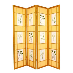 Oriental Furniture - 6 ft. Tall Herbal Floral Shoji Screen - 4 Panel - Honey - For the budding botanist, this beautiful room divider features illustrations of herbs and flowers printed on the front. Constructed from Scandinavian spruce and opaque, fiber-reinforced paper panels, it is a lightweight, airy floor screen perfect for adding a fresh garden accent to any home interior.