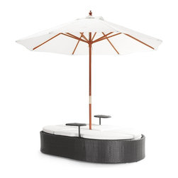 Zuo Modern - Hampton Bed w Umbrella - Includes bed and umbrella. Two separate drink side stands. Cushions are made of water resistant covers and foam. Umbrella is water resistant. Made from synthetic weave with aluminum frame. Umbrella: 106 in. W x 96.5 in. H. Bed: 78.5 in. L x 26.5 in. W x 27.5 - 38 in. H (90 lbs.)With a large umbrella and folding courtship seating makes for a fun bed or dual person lounge. The weave is a UV treated synthetic with a re-inforced interior aluminum tube frame.