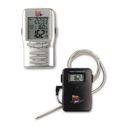 "Maverick - RediChek Remote Single Probe - Maverick Redi-Chek Deluxe Single Probe Digital Thermometer with Taste settings. Display features: Meats (choose from six: beef turkey pork veal lamb or chicken); Taste or doneness (rare medium well done) as appropriate for each meat or choose your own target; Set temperature up to 410 degrees F (210 C) and in your choice of F or C; Actual internal Food temperature; Elapsed cooking timer (alternates digits with meat by pressing the MODE button). Transmitter features a display of actual internal food temperature and a red LED indicating transmissions (which occur whenever temperature changes by degree). The probe is stainless steel with flexible braid stainless steel sheathed connecting wire 40"" overall length. Transmitter measures 3-1/2"" x 2-3/8"" x 3/4"" weighs 2.8 oz. And includes 2 AA batteries. The signal is sent on 433.92 MHz. The receiver measures 4-3/8"" x 2-3/8"" x 1"" weighs 3.7 oz. And includes 2 AA batteries."