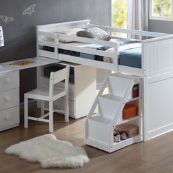None - Wyatt White Finish Twin Loft Bed - This functional twin loft bed is both comfortable and attractive. The trendy loft style looks great in any room, and the white finish is both gorgeous and versatile.