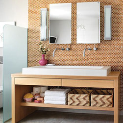 """Habitus Cork Mosaic """"Penny"""" Tile - Git Gustavsson's Scandinavian-styled home featured on House and Home. Habitus Cork Mosaic Tile used as a bath feature wall."""