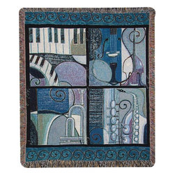 Manual - `Cool Jazz` Music Themed Tapestry Throw Blanket 50 In. X 60 In. - This multicolored woven tapestry throw blanket is a wonderful addition to the home of any music lover. Made of cotton, the blanket measures 50 inches wide, 60 inches long, and has approximately 1 1/2 inches of fringe around the border. The blanket features a cool blue border, with 4 jazzy musical instrument scenes. Care instructions are to machine wash in cold water on a delicate cycle, tumble dry on low heat, wash with dark colors separately, and do not bleach. This comfy blanket makes a great gift that is sure to be loved.