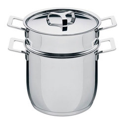 "Alessi - Pots&Pans Pasta Pot - Made of 18/10 stainless steel, the Pots&Pans Pasta Pot is a necessity every kitchen must have. The four side handles make lifting easy and its wide diameter allows room for plenty of pasta Features: -Crafted of 18/10 mirror polished stainless steel.> -Four side handles allow for easy lifting. -One lid. -Dishwasher safe. -Overall Dimensions: 8.7"" H x 7.9"" W x 7.9"" D. Order with Confidence: -Should you discover shortly after receiving your Pots&Pans Pasta Pot that parts are either damaged or missing, please call us immediately, and we will be happy to send you replacement parts as soon as possible and at no additional cost."