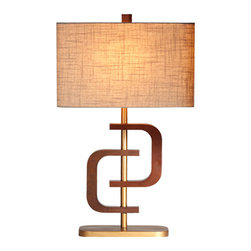 Ziqi Home - CoCo 1 Ring - Inspired by geometric form, this ring lamp was recreated for a mid-century/modern style. Designed with chestnut wood, hand brushed gold metal plating and topped with a linen shade, Coco Ring will dazzle anywhere. Not only will you appreciate its design but its rings can be twisted to create a 2D/3D effect; adding dimension to your space.