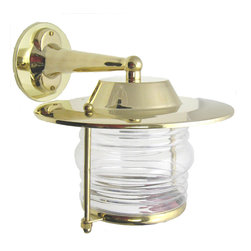 Shiplights - Patio Wall Mount Light Fixture (Solid Brass Interior & Exterior by Shiplights) - Our Patio Wall Light is made of solid brass and can be used indoors or outdoors in a wide variety of applications.