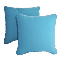"""Dola - Outdoor Patio Accent Pillows, Turquoise Blue - Enhance the look of your outdoor furniture with the Verano outdoor throw pillow. Comfort is just as important for the patio as it is for inside your home, so dress up your sectional or conversation set with patio furniture pillows. These stylish outdoor, 15"""" x 15"""" weather resistant accent pillows in turquoise blue will brighten up any patio furniture. Made from 100% polyester, they come with zippered covers which are removable for easy washing. For purchase in sets of two."""