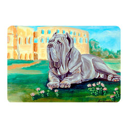Caroline's Treasures - Neapolitan Mastiff  Kitchen Or Bath Mat 24X36 - Kitchen or Bath COMFORT FLOOR MAT This mat is 24 inch by 36 inch.  Comfort Mat / Carpet / Rug that is Made and Printed in the USA. A foam cushion is attached to the bottom of the mat for comfort when standing. The mat has been permenantly dyed for moderate traffic. Durable and fade resistant. The back of the mat is rubber backed to keep the mat from slipping on a smooth floor. Use pressure and water from garden hose or power washer to clean the mat.  Vacuuming only with the hard wood floor setting, as to not pull up the knap of the felt.   Avoid soap or cleaner that produces suds when cleaning.  It will be difficult to get the suds out of the mat.