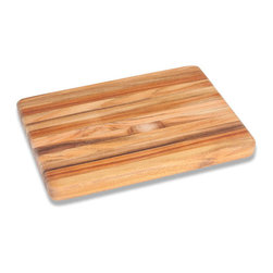 "Bambeco Teak Rectangle Cutting Board - Medium - Classic teak beauty in a stunning edge-grain design. The Teak Rectangle Cutting Board is the perfect solution to your kitchen needs. Revered by top chefs for its strength and moisture resistance, teak is also kind to your knives. These beautiful pieces are crafted from conflict-free, FSC-certified organic teak grown on a sustainably-managed, renewable plantation located on reclaimed ranch lands. Teak has long been prized in the marine industry, and those same features make it ideal for cutting boards. The high levels of natural oils help repel moisture and prevent the wood from warping or drying out.  Care: Hand wash with mild soap and water, allow to dry thoroughly. Periodically treat with a light, food-grade oil to preserve the wood's natural beauty and prolong its life. Dimensions: 12""L x 9""W x .75""H"