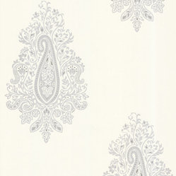 Dynasty Light Grey Paisley Wallpaper. - A gorgeous paisley wallpaper, exhibiting regal Persian influences in pearl and silver, with a lavender grey suede.