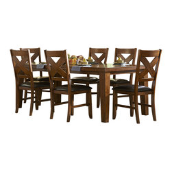 Homelegance - Homelegance Silverton Dining Table in Warm Brown Cherry - A perfect fit in your casual dining room, the Silverton Collection will provide you with the transitional styling that you wish for your home. The cherry veneer pattern is highlighted by a warm brown cherry finish that is carried over to the coordinating server and side chairs. Each of the chairs has an X-back design with dark brown bi-cast vinyl seating.