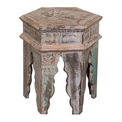 """Lamps Plus - Tannez Marrakesh Rustic Wood Table - This sturdy hexagonal accent table offers a variety of uses, from a charming display stand to a small vintage style stool. Mango and reclaimed wood construction in distressed Rustic Marrakesh finish gives this Moroccan-inspired piece the look of a well-used treasure. Freeform scallop legs and imperfections add even more visual impact. Mango and reclaimed wood. Rustic Marrakesh finish. 20"""" high. 18"""" wide. 18"""" deep."""
