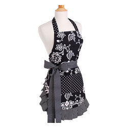 Flirty Aprons - Women's Sassy Black Original Flirty Apron - This apron was inspired by a classic Little Black Dress. This apron has detailed pleated trim along the edge keeping the look stylish and chic and features a double layered construction with long thick ties so you can adjust the fit at the waist.