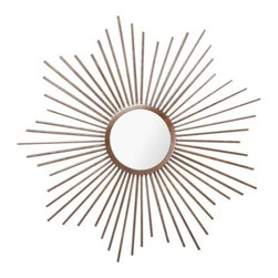 Home ORB Sunburst Metal Mirror - Create a lasting impression with an attention-getting Orb Sunburst mirror from the Target Home collection. Large spike-laden frame draws the eye inward to the central mirror and outward to the decor surrounding it. It serves as both a functional mirror and a decorative accent that looks great in any living room, bedroom, or foyer. Comes with a wall mount tether that keeps it securely on the wall and prevents tipping and falling.