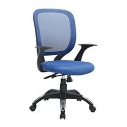 "LexMod - Scope Office Chair in Blue - Scope Office Chair in Blue - Since the proliferation of the office chair in the mid-19th century, designers have been working hard to perfect this now ubiquitous furnishing. One of the greatest advancements both in terms of style and support is a double-layered cushion process known as sandwich mesh. Scope combines the comfort of this deftly constructed waterfall seat, with a broad and breathable mesh back, to provide much needed assistance for those long hours at the office. Topped off with a dual-tone nylon base, five dual-wheel hooded casters, pneumatic lift for height adjustment, locking tilt mechanism, and a 360 degree swivel, and you have an offering that continues in the great tradition of modern office chairs, now close to two-hundred years old. Set Includes: One - Scope Office Chair Foam padding, Five hooded dual-wheel casters, Tilt control with locking, Dual-tone nylon base, Height adjustable, 360 degree swivel Overall Product Dimensions: 23.5""L x 25""W x 37.5 - 41.5""H Seat Dimensions: 20.5""L x 19""W x 17.5 - 21""HBACKrest Dimensions: 1""L x 21.5""H Armrest Height: 7""H Cushion Thickness: 3""H - Mid Century Modern Furniture."