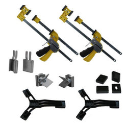 JackClamp - JackClamp 1091-2KT Combo Spreader Clamp Kit - JackClamp 1091 Kit includes 2 clamps, 2 foot attachments, 1 set spreaders, 1 set v-jaws. Clamp virtually any material together with no fading in the clamp strength.