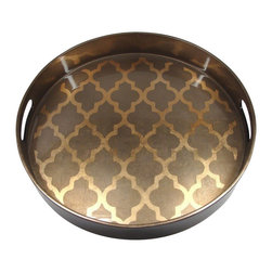 Belle & June - Arabesque Espresso/Coffee Round Tray - Every host or hostess needs a beautiful serving tray that could double as an organizer for a dresser, a catch-all for keys and spare change, or become a makeshift coffee table on an ottoman. This gorgeous golden espresso tray is so chic it's Tray!