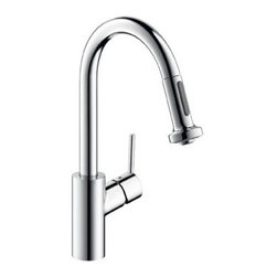 """Hansgrohe - Hansgrohe 04286000 Chrome Talis S Talis S Pull-Down Prep Kitchen - Product Features:  All-brass faucet body and handle construction Fully covered under Hansgrohe s limited lifetime warranty Hansgrohe faucets are designed and engineered in Germany Superior finishing process - finishes will resist corrosion and tarnishing through everyday use Ergonomic pull-down with full and needle sprays enhances the faucets versatility Non-locking spray diverter, hold and release for spray mode Spout swivels 150-degrees providing greater access to more areas of the sink Spout design provides optimal room under the faucet for any size task M2 ceramic cartridge for a lifetime of smooth operation ADA compliant - complies with the standards set forth by the Americans with Disabilities Act for kitchen faucets Low lead compliant - meeting federal and state regulations for lead content  Product Specifications:  Overall Height: 15-1/8"""" (measured from counter top to highest part of faucet) Spout Height: 7-7/8"""" (measured from counter top to spout outlet) Spout Reach: 7-3/8"""" (measured from center of faucet base to center of spout outlet) Number of Holes Required for Installation: 1 Flow Rate: 2.2 GPM (gallons-per-minute) Maximum Deck Thickness: 2-3/4"""" Designed for use with standard U.S. plumbing connections All hardware needed for mounting is included with faucet  Product Technologies and Benefits:  QuickClean: Calcareous water, dirt, cleaning agents; faucets and showers have to be able to withstand a lot. QuickClean technology gives you the power to make residues disappear in an instant. With the silicon nozzles Hansgrohe has fitted to its faucet aerators and shower jets, dirt and lime scale can be rubbed off with ease. This i"""