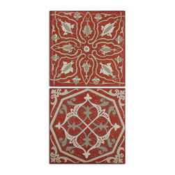Uttermost - Moroccan Tiles Wall Art, Set of 2 - Perk up a dark wall with this set of hand-painted oils on canvas. The lovely hues of red, browns and taupes are distressed to add age and depth. No need to frame them, they are stretched on canvas and the edges are frayed to add interest.