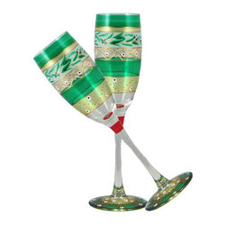 Christmas  Garland Champagne Glasses  Set of 2 - This lovely hand painted champagne flute is from our Mosaic collection and inspired by the colorful tiles of the Alhambra.  This collection is perfect for Christmas or any occasion.  Something to be handed down from generation to generation.  Proudly hand painted in the USA.
