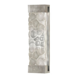 "Fine Art Lamps - Crystal Bakehouse River Stone Sconce, 811050-34ST - Breathe in. Breathe out. Feel the river wash over you like a stone tumbled smooth. Get the calming Zen of polished river stones — inside or out — with this 24-inch-high wall sconce. The shade features a polished block of crystal ""stones"" covering two bulbs."