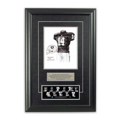"""Heritage Sports Art - Original art of the NFL 2007 Oakland Raiders uniform - This beautifully framed piece features an original piece of watercolor artwork glass-framed in an attractive two inch wide black resin frame with a double mat. The outer dimensions of the framed piece are approximately 17"""" wide x 24.5"""" high, although the exact size will vary according to the size of the original piece of art. At the core of the framed piece is the actual piece of original artwork as painted by the artist on textured 100% rag, water-marked watercolor paper. In many cases the original artwork has handwritten notes in pencil from the artist. Simply put, this is beautiful, one-of-a-kind artwork. The outer mat is a rich textured black acid-free mat with a decorative inset white v-groove, while the inner mat is a complimentary colored acid-free mat reflecting one of the team's primary colors. The image of this framed piece shows the mat color that we use (Silver). Beneath the artwork is a silver plate with black text describing the original artwork. The text for this piece will read: This original, one-of-a-kind watercolor painting of the 2007 Oakland Raiders uniform is the original artwork that was used in the creation of this Oakland Raiders uniform evolution print and tens of thousands of other Oakland Raiders products that have been sold across North America. This original piece of art was painted by artist Nola McConnan for Maple Leaf Productions Ltd. Beneath the silver plate is a 3"""" x 9"""" reproduction of a well known, best-selling print that celebrates the history of the team. The print beautifully illustrates the chronological evolution of the team's uniform and shows you how the original art was used in the creation of this print. If you look closely, you will see that the print features the actual artwork being offered for sale. The piece is framed with an extremely high quality framing glass. We have used this glass style for many years with excellent results. We package"""