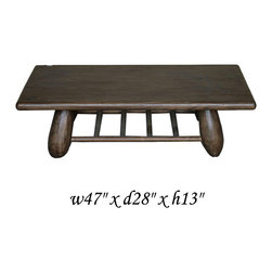 Rustic Natural Wood Oval Legs Low Table - This table makes of solid wood with a smooth polish surface. Each leg is made into an oval shape and there is a tray for accessory or magazine. It can be a coffee table or a prayer table or a mediation table.