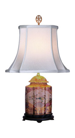 """Lamps Plus - Asian Gold Satsuma Scalloped Porcelain Tea Jar Table Lamp - This exquisite table lamp looks great in a living room or bedroom and is perfect for formal or Asian-themed decors. It features a scalloped porcelain tea jar in a lustrous gold Satsuma and multi-colored finish. It's also decorated with a charming and detailed scene with an Oriental fan theme. An off white French oval shade sits on top. Three-way socket gives you more lighting control. Porcelain base. Gold Satsuma finish. Off white French oval shade. Takes one 100 watt 3-way bulb (not included). 23"""" high. Shade is 7""""x9"""" across the top 13""""x14"""" across the bottom 11"""" high.  Porcelain base.   Gold Satsuma finish.   Off white French oval shade.   Takes one 100 watt 3-way bulb (not included).   23"""" high.   Shade is 7"""" wide by 9"""" deep across the top.  Shade is 13"""" wide by 14"""" deep across the bottom.   Shade is 11"""" high."""