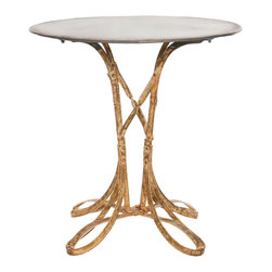 Kathy Kuo Home - Ribbon Hollywood Regency Deco Gold Leaf Accent Side Table - Short - Wrap up a regal, romantic room with our Hollywood gold leaf side table. Weathered iron adds strength and weight to the delightfully delicate ribbon base. This eclectic piece is perfect for smaller spaces as a round end table or corner display.
