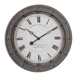 Gray Metal Porthole Wall Clock - *Rust Gray Metal Frame With Burnished Edges. Quartz Movement.