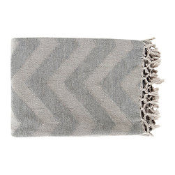 Thacker Throw - Ash Grey - Soft and elegant, the Thacker Throw makes an ultra thoughtful gift for someone else, or all for yourself. This cotton throw has a gorgeous zig zag pattern with a fringed edge and looks delightful when draped over the edge of a bed or chair. Curl up with a cup of coffee, a book and the Thacker Throw for a relaxing night in.