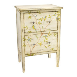 Sterling Lighting - Bluebird and Branch Accent Chest - Two drawers. Made from MDF and metal. 24 in. W x 16 in. D x 36.5 in. H (52 lbs.)
