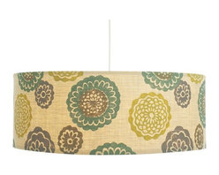 Galbraith and Paul Zinnia Pendant Drum Shade Lamp - Hand-blocked and manufactured in Pennsylvania, this drum shade lamp, covered in colorful and oversized zinnias, adds the exuberance of a garden to any room in the house. Three shapes and several color choices are available.
