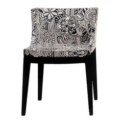 Kartell - Mademoiselle Armchair, Black Frame, Missoni Cartagena Black/White Printed Fabric - This sophisticated chair has a compact\