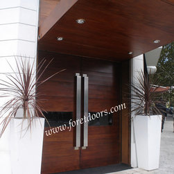 Modern exterior doors / contemporary exterior doors - Custom modern exterior door with horizontal windows and custom made stainless steel pulls