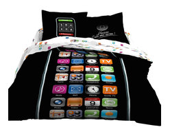 Le Vele - 6 Piece 100% Cotton Duvet Cover Set, Full/Queen Size Bedding - Decorate with fun and style with this 6 piece duvet cover set resembling a mobile phone screen. The realistic color palate of this print creates the ideal decor for guest and teen rooms.  These fine bedding sets and their unique gift packaging make a great choice for housewarming or bridal shower gift.- 6 Piece Luxury Duvet Cover Set with Reversible Design.- Fits Full or Queen Size mattress.- Made of 100% Soft Turkish Cotton at 305 Thread Count.- Set includes: 1 Flat bed sheet, 1 Duvet Cover, 2 Pillow Cases and 2 Pillow Shams.- Concealed plastic snaps at the foot of the duvet cover make it easy to insert a comforter, quilt or blanket.- Designed for exceptional softness and comfort with 100% Cotton at 300 TC.- Modern dyeing technology for excellent brightness and long lasting colors.- This bedding set comes in an elegant gift box and a gift bag.- Machine Washable: Normal w Cool Water - No bleach - Tumble Dry.Package Content and Sizes in Inches:1 Flat Bed Sheet 94 x 1021 Duvet Cover 80 x 872 Pillow Cases 20 x 302 Pillow Shams 20 x 30 + 2 inch Flange NOTE: The digital images we display have the most accurate color possible. However, due to differences in computer monitors, we cannot be responsible for variations in color between the actual product and your screen.