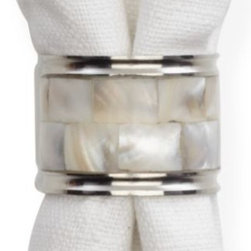 Z Gallerie - Mother of Pearl Napkin Ring - Set of 4 - For the finishing touch to your elegant table setting, add our stunning Mother-of-Pearl napkin ring for a sophisticated flair. A lustrous mosaic of authentic mother-of-pearl shell covers the durable stainless steel ring, bordered by a shiny stainless rim on each side. To extend the effect, complement the set with our Mother of Pearl Cake and Knife Set, Set of 2 Spreaders, Bottle Opener, or Salad Serving Set.